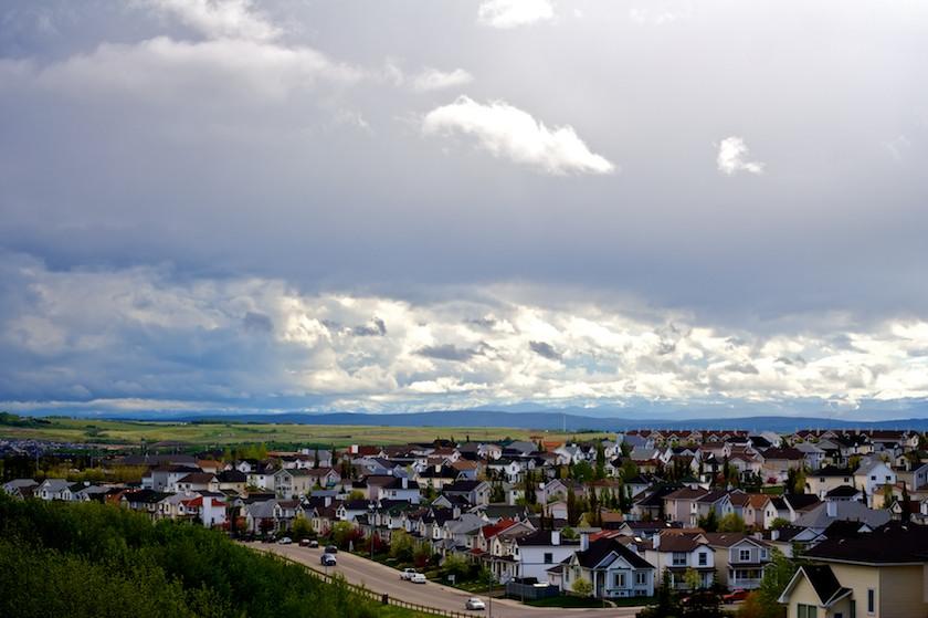 sparse suburban community, built around the car